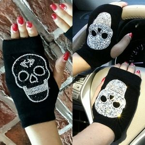 Rhinestone Skull Hand Warmers/Fingerless Gloves